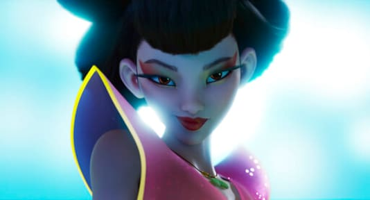 This image released by Netflix shows the character Chang'e, voiced by Phillipa Soo, in a scene from
