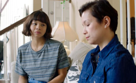 This image released by Sony Pictures shows Eva Noblezada, left, and Lea Salonga in a scene from