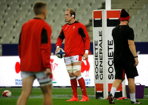 Alun-Wyn Jones, captain of Wales, stands on the pitch before the rugby union international match between France and Wales at the Stade de France in Saint-Denis, near Paris, France, Saturday, Oct. 24, 2020. (AP Photo/Lewis Joly)