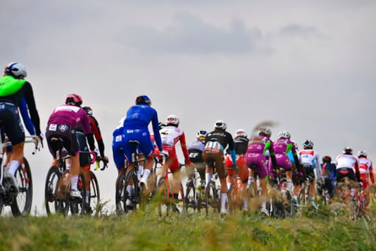 Cyclists pedal during the 13th stage of the Giro d'Italia, tour of Italy cycling race, from Cervia to Monselice, Italy, Friday, Oct. 16, 2020. (Fabio Ferrari/LaPresse via AP)