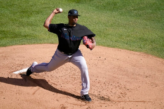 Miami Marlins starting pitcher Sixto Sanchez throws during the first inning in Game 2 of a National League wild-card baseball series against the Chicago Cubs Friday, Oct. 2, 2020, in Chicago. (AP Photo/Nam Y. Huh)