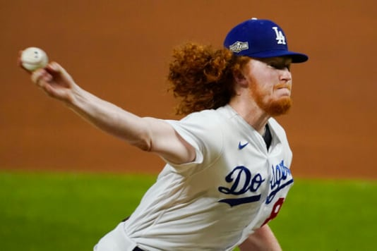 Los Angeles Dodgers relief pitcher Dustin May (85) throws against the San Diego Padres during the fifth inning in Game 1 of a baseball NL Division Series, Tuesday, Oct. 6, 2020, in Arlington, Texas. (AP Photo/Tony Gutierrez)