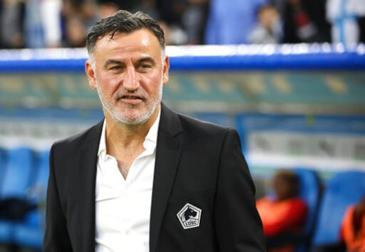 FILE - In this Saturday, Nov. 2, 2019 file photo, Lille's coach Christophe Galtier looks on at the start of their French League One soccer match against Marseille at the Velodrome stadium in Marseille, southern France.  Paris Saint-Germain's poor start to the season opened the door for Lille, whose captain Jose Fonte believes his side can take advantage and win the league title. Lille is unbeaten so far and Fonte leads the league's best defense, with only two goals conceded in seven games ahead of their game at Nice on Sunday, Oct. 25, 2020.(AP Photo/Daniel Cole)