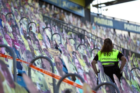 Cardboard of Villarreal supporters are displayed during the Spanish La Liga soccer match between Levante and Real Madrid at the Ceramica stadium in Villarreal, Spain, Sunday, Oct. 4, 2020. (AP Photo/Jose Miguel Fernandez)