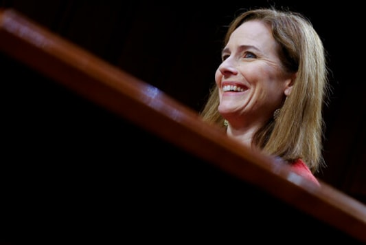 Supreme Court nominee Amy Coney Barrett speaks during the second day of her confirmation hearing before the Senate Judiciary Committee on Capitol Hill in Washington, Tuesday, Oct. 13, 2020. (Samuel Corum/Pool via AP)
