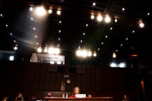 Supreme Court nominee Amy Coney Barrett speaks during her Senate Judiciary Committee confirmation hearing on Capitol Hill in Washington, Tuesday, Oct. 13, 2020. (Demetrius Freeman/The Washington Post via AP, Pool)