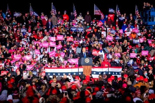 President Donald Trump speaks during a rally Tuesday, Oct. 27, 2020, in Omaha, Neb. Several people were taken to hospitals after the rally for President Trump that drew thousands, many of whom were left stranded miles from their parked cars in freezing weather. (Anna Reed/The World-Herald via AP)