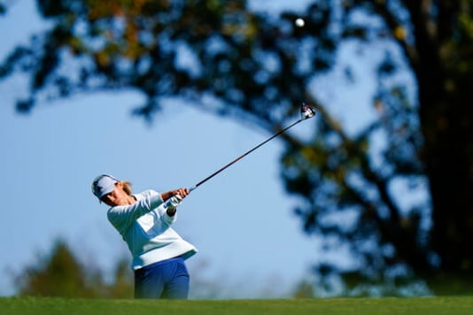 Danielle Kang hits her tee shot on the 12th hole during the second round of the KPMG Women's PGA Championship golf tournament at the Aronimink Golf Club, Friday, Oct. 9, 2020, in Newtown Square, Pa. (AP Photo/Matt Slocum)