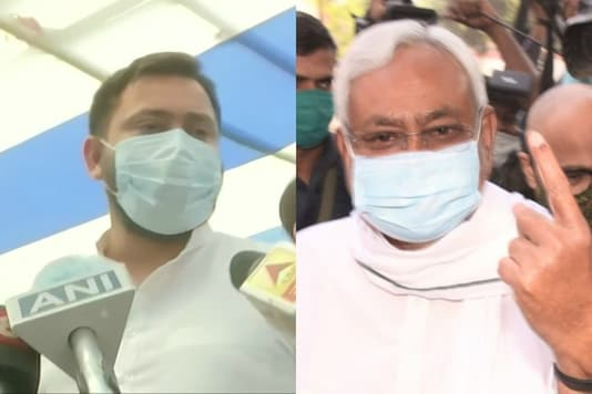 RJD's Tejashwi Yadav and Chief Minister Nitish Kumar after voting in phase 2 of the Bihar election