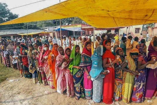 Voters stand in a queue in Bhagalpur to cast their votes for the second phase of Bihar Assembly elections on Tuesday. (PTI)