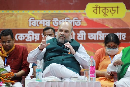 Home Minister Amit Shah addresses a party gathering in Bankura on Thursday. (News18)
