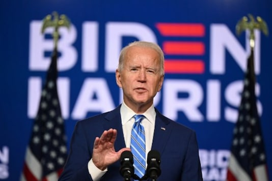 Democratic presidential nominee Joe Biden speaks a day after Americans voted in the presidential election, in Delaware on Wednesday. (AFP)