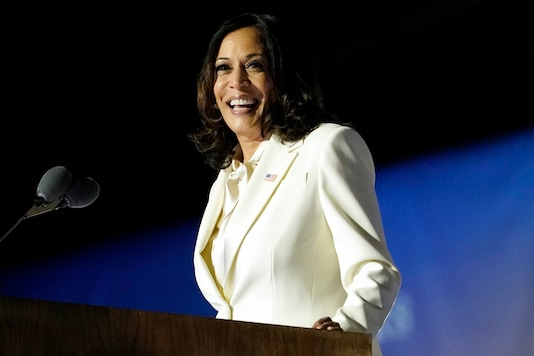 Vice-president-elect Kamala Harris addresses a crowd after her victory.