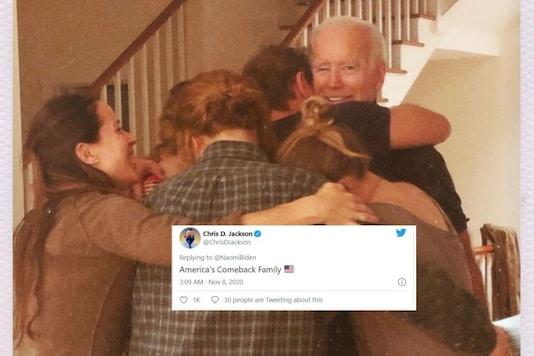 Joe Biden being hugged by his grandchildren. (Credit: Twitter/ @NaomiBiden)