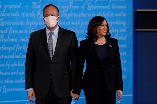 In this October 7, 2020, file photo, Democratic vice presidential candidate Sen. Kamala Harris, D-Calif., stands with her husband Douglas Emhoff during the vice presidential debate with Vice President Mike Pence.  (AP)