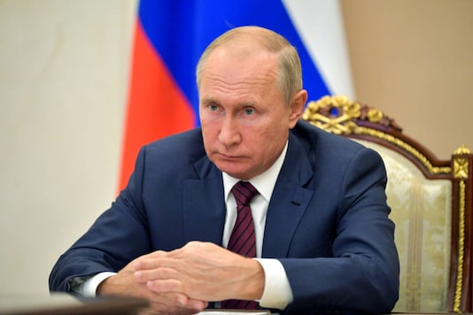 Russian President Vladimir Putin attends a meeting via video conference in Moscow, Russia, Thursday, Nov. 5, 2020. (Alexei Druzhinin, Sputnik, Kremlin Pool Photo via AP)