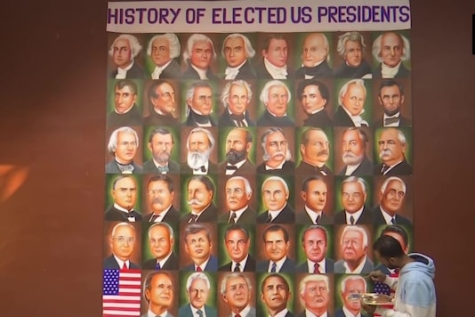 Artist from Amritsar paints portraits of all president elects of the United States. (Credit: Twitter/ ANI)