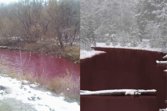 People shared images of the same river at different locations and showed the water as ruby red in colour. (Photo: TWITTER)