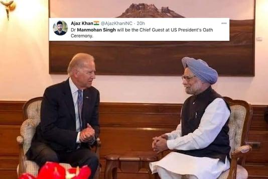 Us President-elect Joe Biden with former Indian PM Dr Manmohan Singh   Image credit: Twitter