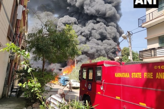Fire breaks out at a chemical factory in Bengaluru. (ANI)