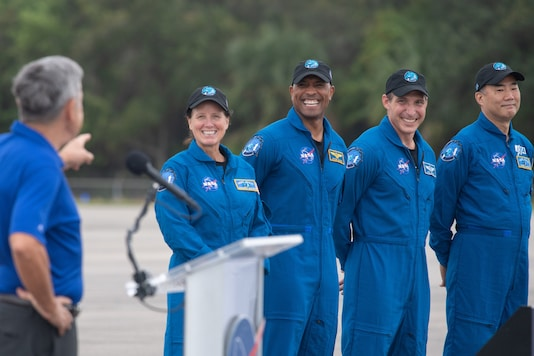From left to right: NASA astronauts Shannon Walker, Victor Glover and Mike Hopkins, and Japanese astronaut Soichi Noguchi. Credits: AFP.