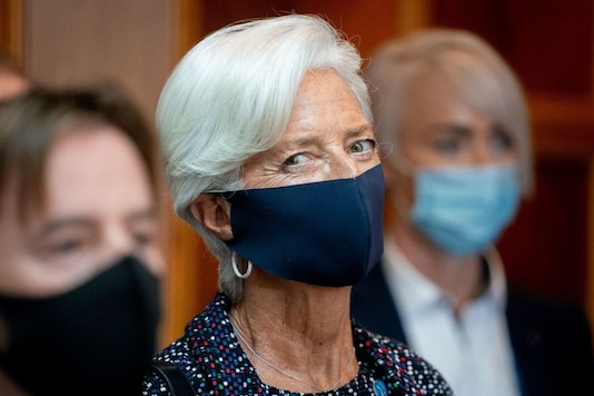 European Central Bank (ECB) President Christine Lagarde wears a protective mask as she attends the Informal Meeting of Ministers for Economics and Financial Affairs in Berlin, Germany, September 11, 2020. Kay Nietfeld/Pool via REUTERS