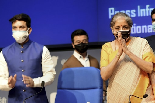 Union Finance Minister Nirmala Sitharaman and Minister of State Anurag Thakur during a news conference in New Delhi on Thursday. (PTI Photo)