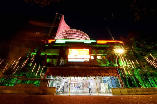 Bombay Stock Exchange (BSE) is lit up during 'Muhurat' trading to mark the 'Diwali' festival, in Mumbai, on November 14, 2020. (PTI Photo/Kunal Patil)