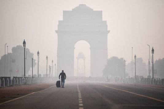 The India Gate seen through smoggy conditions on Rajpath a day after Diwali, in New Delhi on November 15, 2020. (Photo by Sajjad HUSSAIN / AFP)
