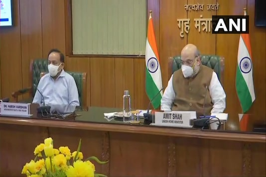 Union Home Minister Amit Shah chairs a meeting in Delhi on Sunday. (Twitter/ANI)