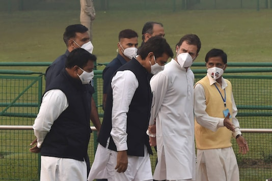 Congress leader Rahul Gandhi, DPCC president Anil Chaudhary, Youth Congress president Srinivas BV and others leave after paying tribute to Jawaharlal Nehru on his birth anniversary, at Shanti Van in New Delhi, on November 14, 2020. (PTI Photo/Manvender Vashist)