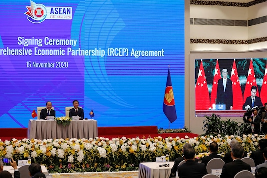 The virtual signing ceremony of the Regional Comprehensive Economic Partnership (RCEP) Agreement during the 37th ASEAN Summit in Hanoi, Vietnam. (Reuters)