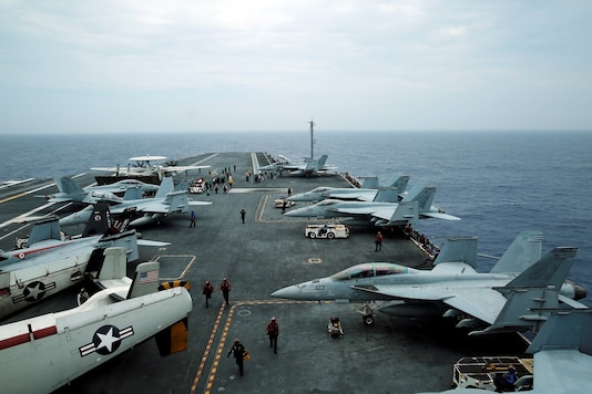 F/A-18 Hornet fighter jets and E-2D Hawkeye plane are seen during joint military exercise called Malabar with US, Japan and India participating, off Japan's southernmost island of Okinawa, Japan. (Reuters)