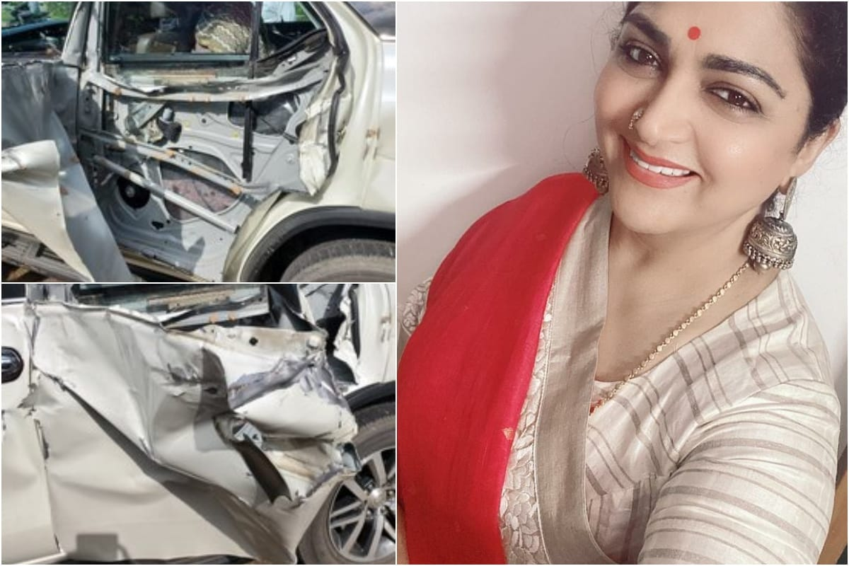 Khushbu Sundar Escapes Unhurt After Her Car was Hit by Tanker, Actress Shares Pics of Rammed Vehicle - News18