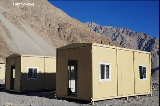 The cabins for Army personnel set up in Ladakh. (Via special arrangement)