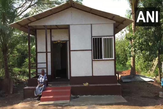 An organization has built a home made of recycled plastic waste for a waste collector in Mangaluru. (Credit:ANI/Twitter)