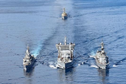 Indian Navy's Vikramaditya Carrier Battle Group exercising with US Navy's Nimitz Carrier Strike Group, Australian Navy ship HMAS Ballarat and JMSDF ship JS Onami during phase 2 of Malabar exercise. (Image: Indian Navy)