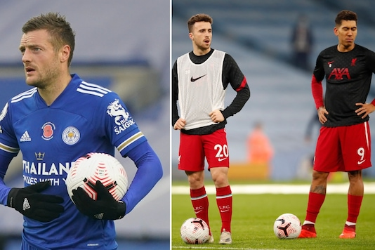 Leicester City's Jamie Vardy (L), Liverpool's Diogo Jota (C) and Roberto Firmino (Photo Credit: Reuters)