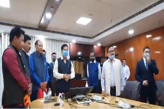 Bodo community leaders Biswajit Daimary and Emmanuel Mushahary join the BJP in presence of Assam CM Sarbananda Sonowal. (Image: Sarbananda Sonowal Twitter)