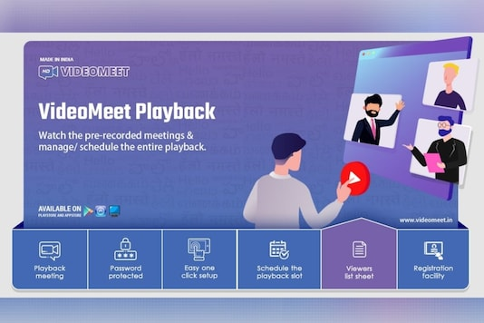 Indian Zoom Alternative VideoMeet Brings 'Playback' That Allows Hosts to Schedule Pre-Recorded Meetings