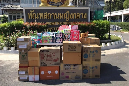 More than 400 packs of sanitary pads donated to female inmates are placed at the Central Women Correctional Institution in Bangkok. (Photo: REUTERS/The women in that day project)