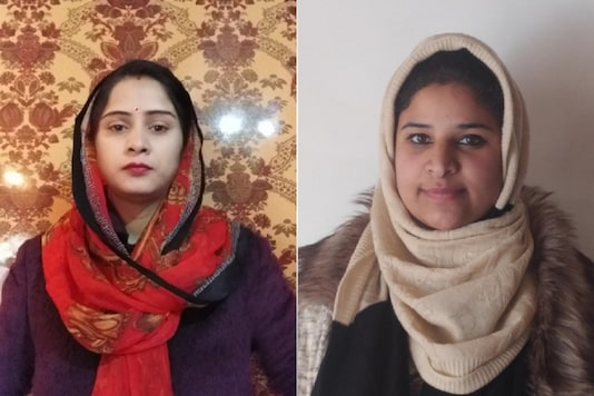 File photos of Gupkar Alliance candidate Parmeet Kaur and 23-year-old lawyer-turned-politician Ruqaya Fayaz.