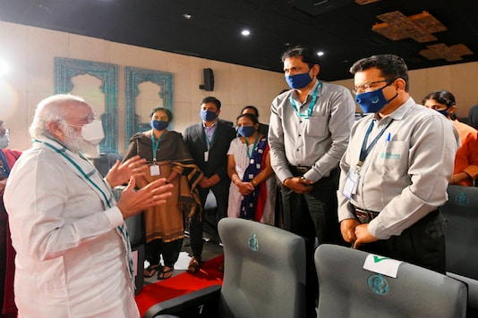 PM Narendra Modi at Bharat Biotech facility in Hyderabad on Saturday.