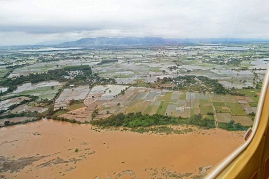 An aerial view of Cyclone Nivar affected areas during Andhra Pradesh Chief Minister YS Jagan Mohan Reddy's aerial survey, Saturday, Nov. 28, 2020. (PTI Photo)