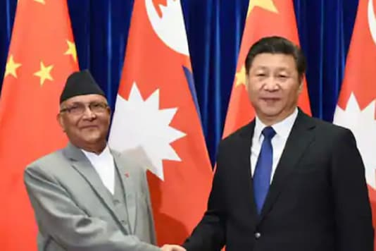 File photo of Nepalese PM KP Oli with Chinese President Xi Jingping.