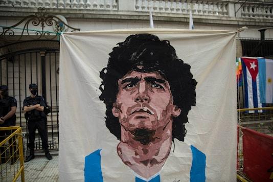 Diego Maradona's banner (Photo Credit: AP)