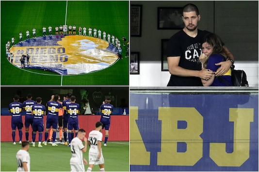 Diego Maradona's Daughter Brought To Tears By Boca Juniors' Tribute (Photo Credit: Twitter: PlanetaBoca)