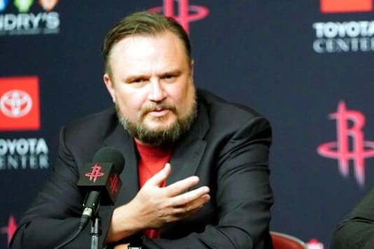 FILE - This is a July 26, 2019, file photo showing Houston Rockets General Manager Daryl Morey during an NBA basketball news conference in Houston. The Philadelphia 76ers officially named Daryl Morey president of basketball operations and extended the contract of general manager Elton Brand on Monday, Nov. 2, 2020. Morey stepped down as GM of the Houston Rockets earlier this month after blockbuster moves that failed to lead the franchise to the NBA Finals.  (AP Photo/David J. Phillip, File)