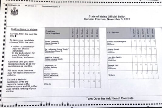 This absentee ballot for the 2020 Maine general election, photographed on Thursday, Oct. 22, 2020 in Falmouth, Maine, shows how Maine voters are allowed to rank presidential and senate candidates in order of ranked choice preference. It is the first time a ranked voting system is being used for a presidential race. (AP Photo/David Sharp)