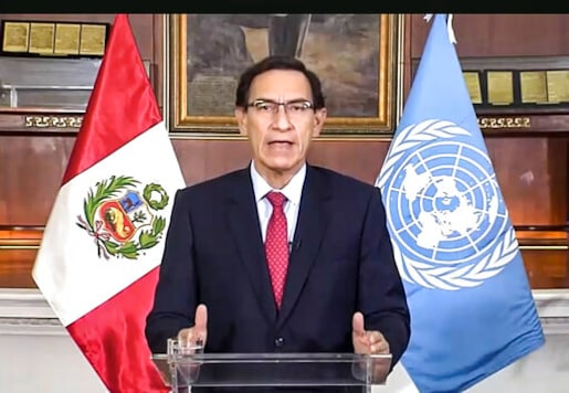In this image made from UNTV video, Peru President Martn Vizcarra Cornejo speaks in a pre-recorded message which was played during the 75th session of the United Nations General Assembly, Tuesday, Sept. 22, 2020, at U.N. headquarters in New York. The U.N.'s first virtual meeting of world leaders started Tuesday with pre-recorded speeches from some of the planet's biggest powers, kept at home by the coronavirus pandemic that will likely be a dominant theme at their video gathering this year. (UNTV via AP)